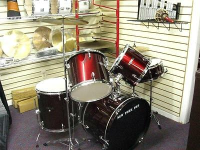 New York Pro-5 (Five) Piece Drum Set-New in Box-Wine or Black Color-Deal!