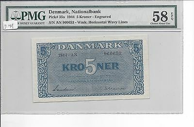 Denmark 1944  5 Kroner Pick 35a SCARCE GRADE  PMG 58EPQ Choice About UNC