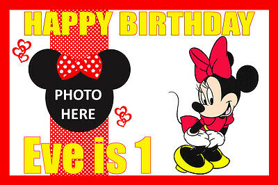 Large Kids Minnie Mouse Birthday Poster Banner Personalised Any Name Text Photo