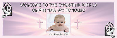 PERSONALISED CHRISTENING BAPTISM BANNER LARGE 1500MM X 500MM ADD PHOTO ANY TEXT