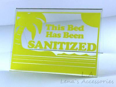 "Tanning Bed Sign Sanitized Bed Acrylic Tent  Sign 3""x4.5"" Yellow # 211 Solarium"