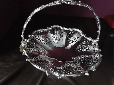 Basket Elkington Silver Plate Pierced Chased Englsih Circa 1850- Antique Marked