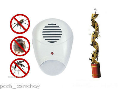 Insect Ultrasonic Pest Repellent Plug In Mice Mouse Rat Rodent Fly Paper Travel