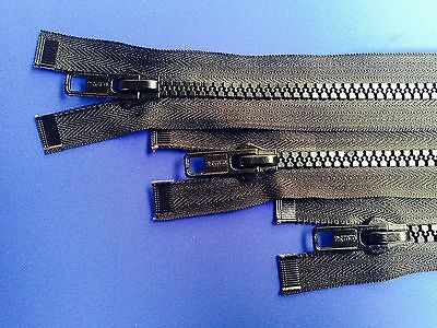 Zip Open Ended 8 Weight Non Rust Metal Slider Plastic Teeth Chunky Heavy Duty