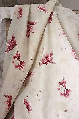Vintage French Faded floral LOVELY timeworn c 1910 art deco fabric