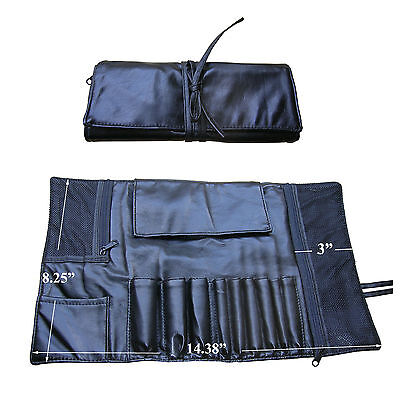 Pro Black Faux Leather Cosmetic Makeup Brush Case Bag Roll Organizer Good 4 Gift