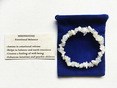 Moonstone Bracelet Gemstone Crystal Chip Beads Stretch 'BUY 3 GET 1 FREE'