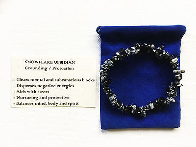 Snowflake Obsidian Bracelet Gemstone Crystal Beads Stretch 'BUY 3 GET 1 FREE'