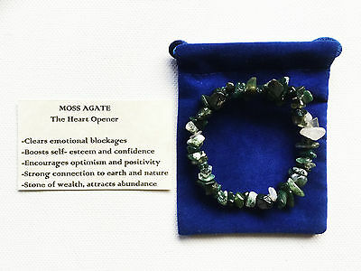 Moss Agate Bracelet Gemstone Crystal Chip Beads Stretch 'BUY 3 GET 1 FREE'