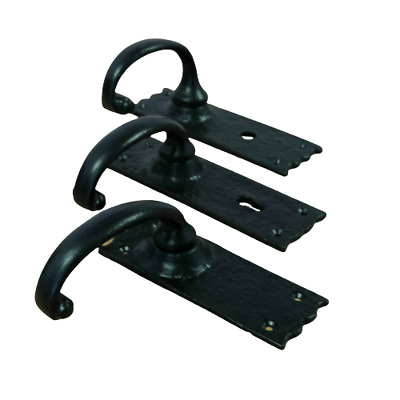 Black Antique Door Handle Cast Iron Lever Latch Lock Iron Tudor Style Lever