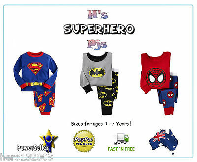 Pyjamas Pjs Pajamas Superman Spiderman Batman Cotton Age 2-7 boys girls