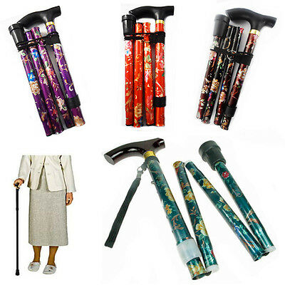 Foldable Walking Stick Cane Floral Print Aluminium Light Weight Support