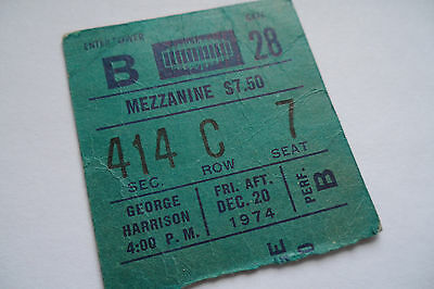 GEORGE HARRISON Original 1974 CONCERT Ticket STUB - Madison Square Garden, NYC