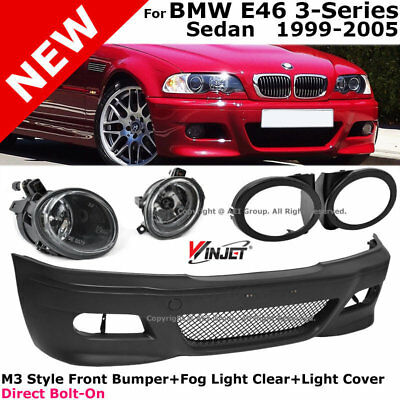 BMW E46 99-05 M3 Style Front Bumper Fog Lights Clear Lamp Covers Black