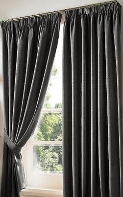 Charcoal Dark Grey Blackout Curtains Luxury Lined Pencil Pleat Curtains..9 Sizes