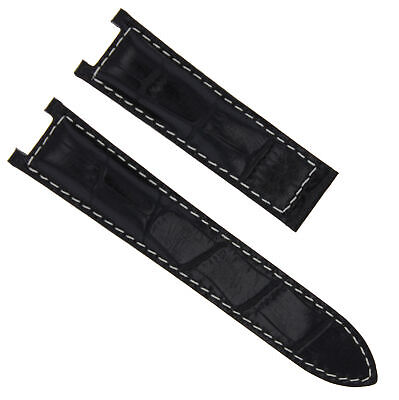 18Mm Leather Strap Band Deployment Clasp Fit For 35Mm Cartier Pasha Black Ws 1P