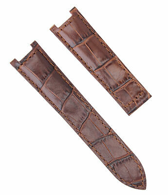 18Mm Leather Watch Band Strap Deploy Clasp For 35Mm Cartier Pasha 2377 Brown 1P