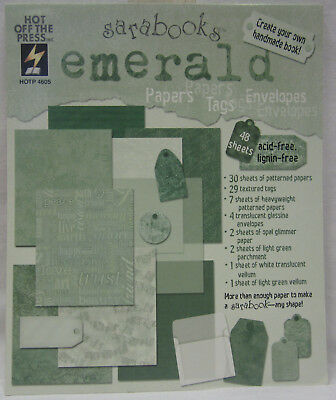 Scrapbooking Paper Kit - Emerald, 48 sheets, Papers, Alphabet, Borders, Tags