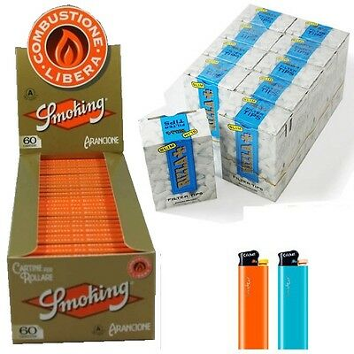 CARTINE SMOKING Orange ARANCIONE CORTE 1 Box + FILTRI RIZLA SLIM 6 mm 6mm 1 Box