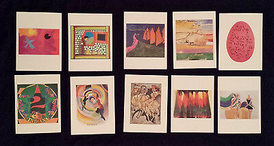 20th Century Art Set Of 10 Colorful Abstract Paintings Postcards (New W/O Tags)