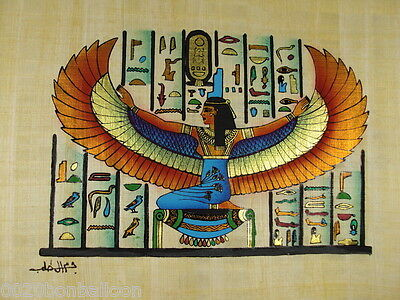 "Goddess Isis Ancient Alphabet Original Hand Painted Papyrus 8""X12"" (20x30 Cm)"