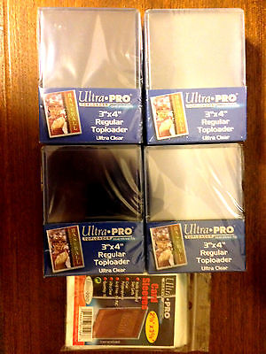 "** BRAND NEW** 100 ULTRA PRO 3""X4"" CLEAR TOP LOADERS & 100 PENNY SLEEVES W/TRACK"
