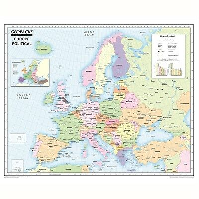 Geopacks Reversible Europe Map For Schools ( Political/Physical maps)