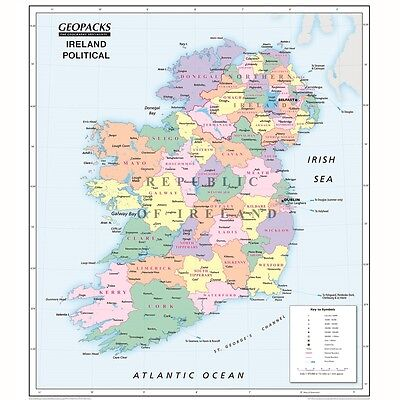 Geopacks Reversible Ireland Map For Schools (Political/Physical maps)