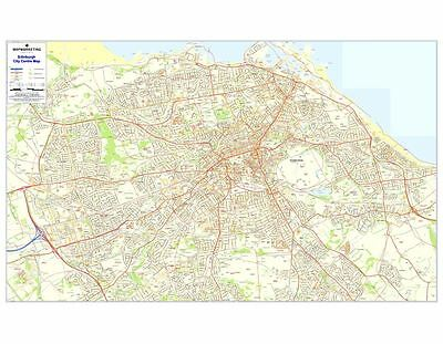 Postcode City Sector Maps 4 Edinburgh (Dark wood frame)