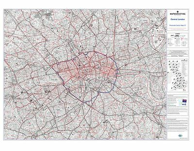Postcode Sector Map 37 Central London (Dark wood frame)