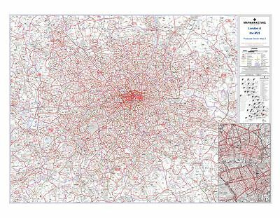Postcode Sector Map 8 London and the M25 (Dark wood frame)