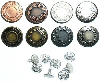 Top Quality Jean Buttons 17Mm No Sew Hammer On, Choose Colour & Quantity