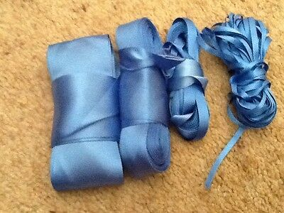 Blue double sided satin ribbon, various widths 10 & 5 metre lengths