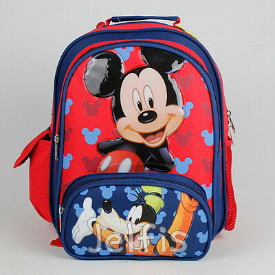 """Disney Mickey Mouse 12"""" Backpack - Goofy Cheerful Small Boys Toddler Book Bag"""