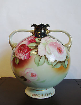 "Nippon -Maple Leaf Mark- Round Urn/Vase Hand Painted Roses Gold Trim - 8 1/2""H"