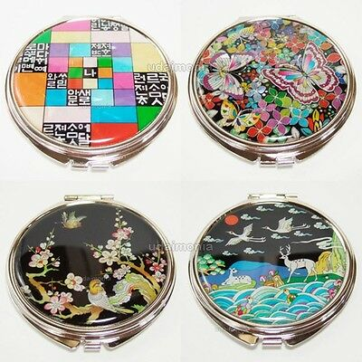Mother of Pearl Inlay Makeup Round Compact Hand Mirror Antique Gift Collectibles