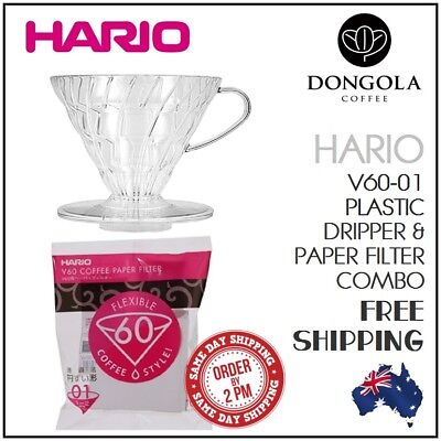 HARIO V60-01 Cup Brewer Combo Plastic Dripper Pour Over Coffee 100 Cone Filters