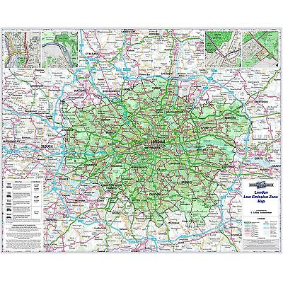 London Low Emission Zone Laminated Wall Map For Business