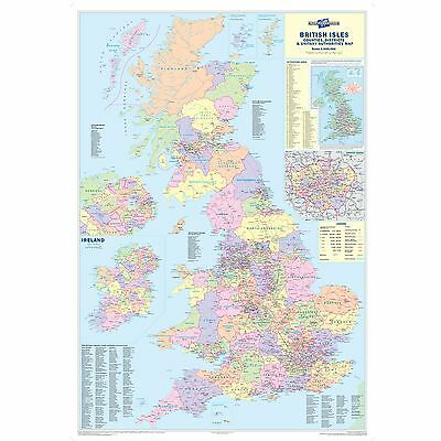 UK Counties Map (Dark wood frame) For Business