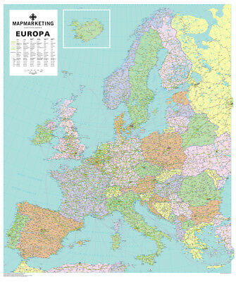 Europa Map Aluminium Frame & Metal Backing - Suitable for Magnets