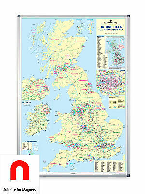 UK Sales & Marketing Map Aluminium Frame & Metal Backing - Suitable for Magnets