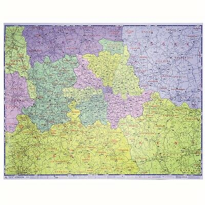 Laminated Postcode Wall Map of Greater London For Business