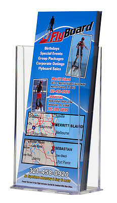 "Clear Countertop Brochure Holders 4"" wide Tri Fold Literature Display"