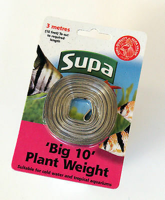 Supa BIG '10' Plant Weight 3 metre Length of Lead Strip for Aquarium Plants 10ft