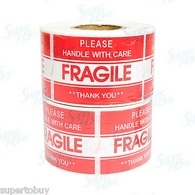 "2 Roll 1000 2"" x 3"" FRAGILE HANDLE WITH CARE Stickers, Easy Peel and Apply"