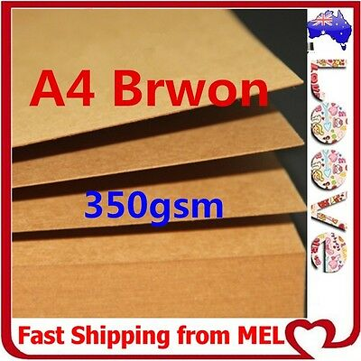 50x A4 350GSM Brown Kraft Thick Paper Sheet Card Recycled Invitation Wedding