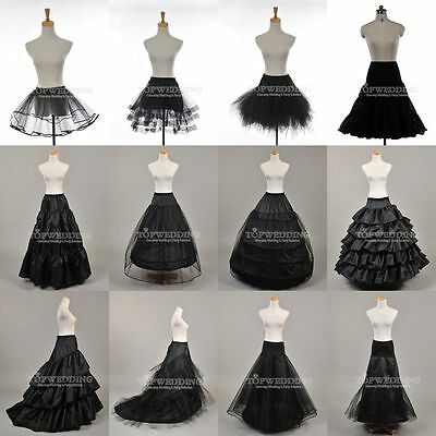 White/Black Petticoat Slips A-Line Ball Gown Mermaid Bridal Underskirt Crinoline