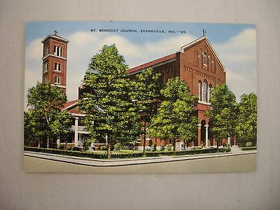 Vintage Linen Postcard Of St. Benedict Church In Evansville, Indiana