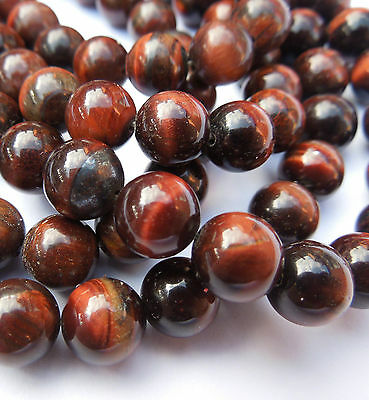 16in Red Tiger Eye Round Semi Precious Gemstone Beads for Jewellery Making