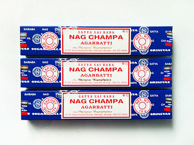 Nag Champa Satya Sai Baba Incense Sticks 15g x 3 Box Pack Authentic Original